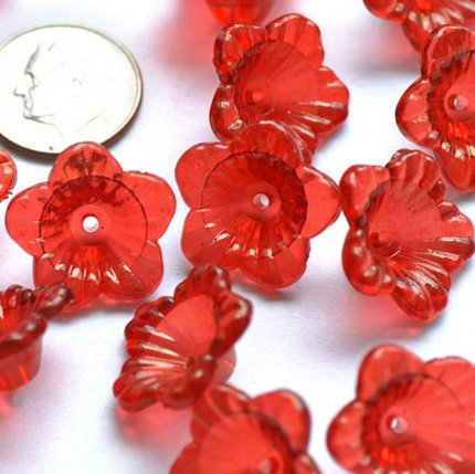 24pcs Nice Translucent Red Trumpet Flower Beads Finding 18mm p157r
