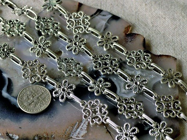 Fancy Metal Chain Antique Silver j153b-BY THE FOOT