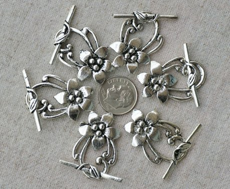 4pcs Antique Silver Plated Bali Toggle Clasp Flower 31x20mm a040