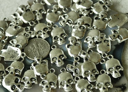 18pcs Antique Silver Plated Bali Charms Beads Skull Finding a033