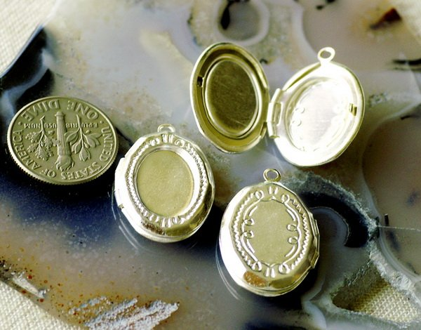 4 Sterling Silver Plated Brass Filigree Locket Cabochon Base Setting Charm b18sl