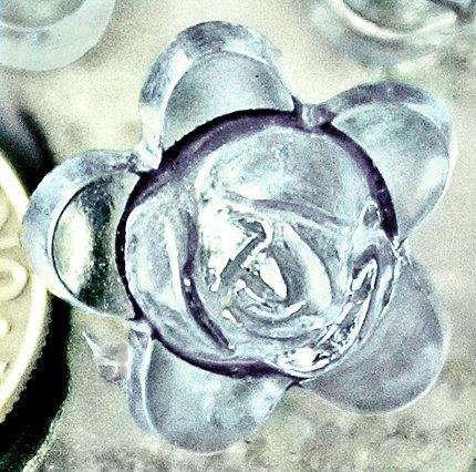 20pcs Acrylic Transparent Aqua Flower Beads 15mm p177l