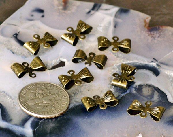 60pcs Antique Bronze Filigree Bow Tie Connector 8mm b56b