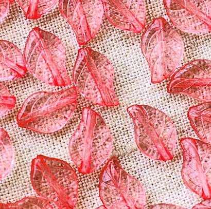 80pcs Acrylic Transparent Pink Leaves Beads 12.5mm p175s