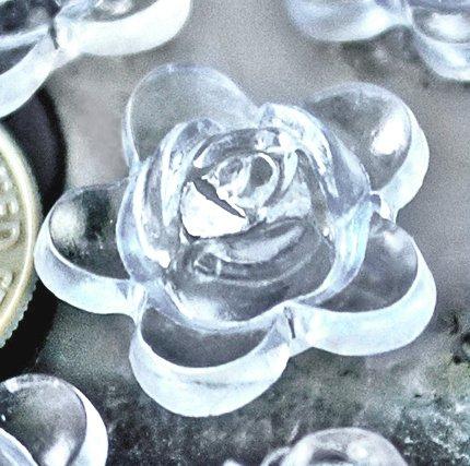 20pcs Acrylic Transparent Pale Blue Flower Beads 2mm p177w
