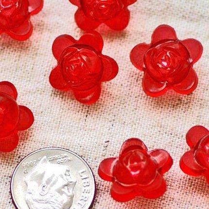 20pcs Acrylic Translucent Red  Flower Beads 15mm p177r