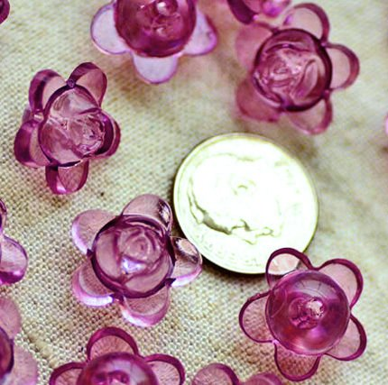 20pcs Plastic Translucent Purple Flower Beads p177p