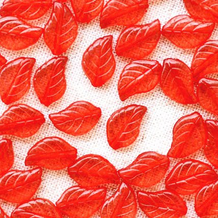 50 Acrylic Translucent Red  Leaves Beads 12.5mm p175r