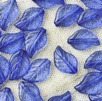 50 Acrylic Transparent Blue Leaves Beads 12.5mm p175b