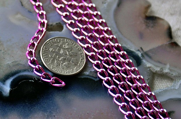 Pink Anodized Aluminum Chains Link Curb Chain c17(10ft)