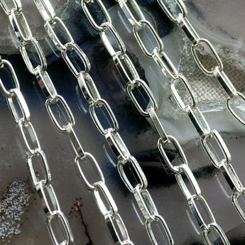 Sterling silver Plated Metal Link Cable Chains c184 (10ft)