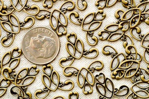 24pcs Antique Bronze Plated Brass Filigree Wrap Connectors 19mm be25b