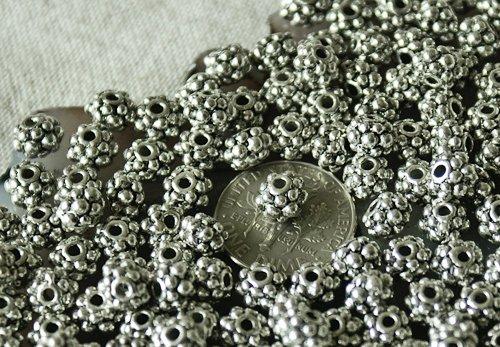 30pcs Antique Silver Plated Bali Raised Dot Bead a161