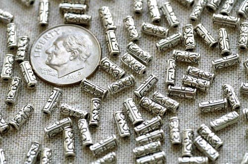 24 Antique Silver Plated Bali Tube Beads a211