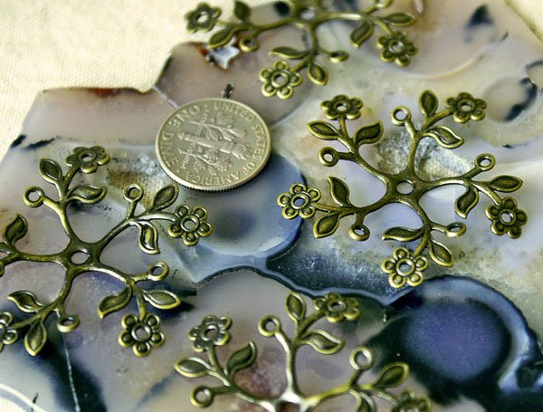 6pcs Wholesale Large Antique Bronze Plated Brass Stamping Flower 38mm  bf24b