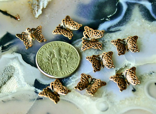 50 Antique Copper Plated Solid Brass Filigree Butterfly Charms pendant 11.2mm b10d
