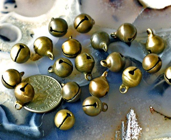 40pcs Oxidized Brass Jingle Bells Charms 11x8mm b38a