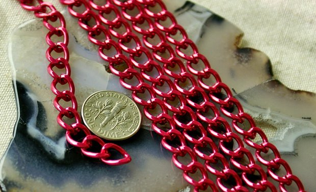 Red Plated Aluminum Link Chains c30(4ft)