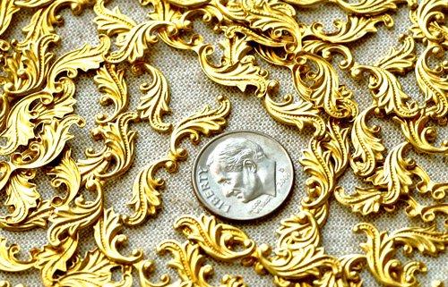 30pcs Raw Brass Stamping Filigree Leaf Shaped Embellishem bp22
