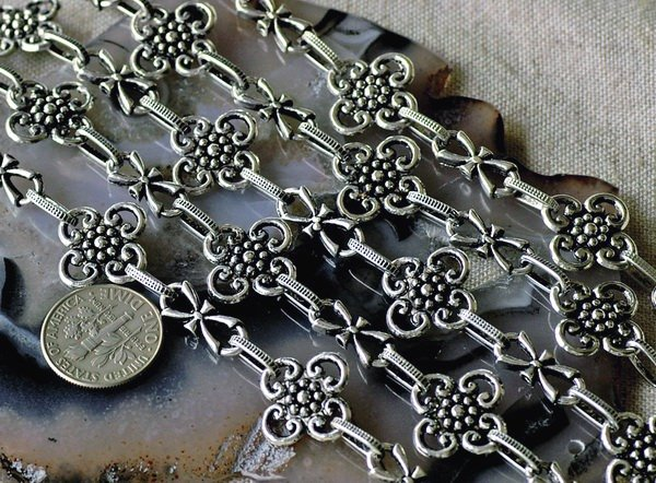 Fancy Antique Silver Plated Metal Chain j121b(2ft)