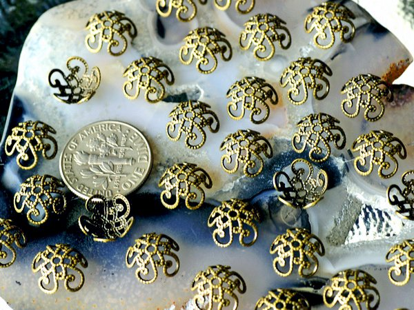 40pcs Antique Bronze Bead Caps Brass Filigree Hollow Bead Cap Findings 10mm bc01b