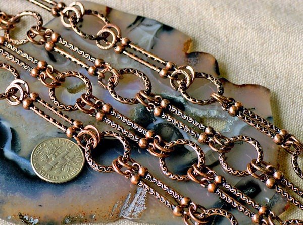 Fancy Metal Chain Antique Copper j52d-BY THE FOOT