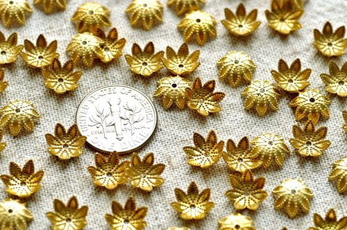 40pcs Solid Brass Filigree Bead Caps Stamping Finding Embellishment 9mm bc13