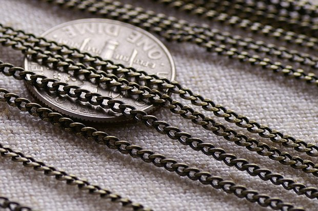 Antique Bronze Chain Link Brass Chains Curb chains for necklace 1.6mm c91a (6ft)