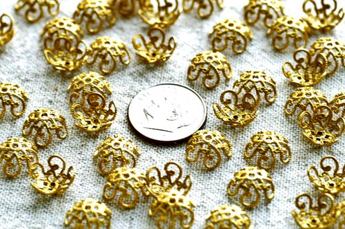 40pcs Raw Brass Stamping Filigree Bead Caps 10mm bc01