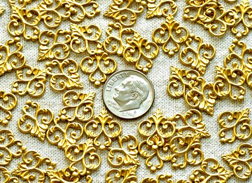 40pcs Brass Stamping Plated Artistic Pattern Embellishment Wrap Findings 15mm bp20