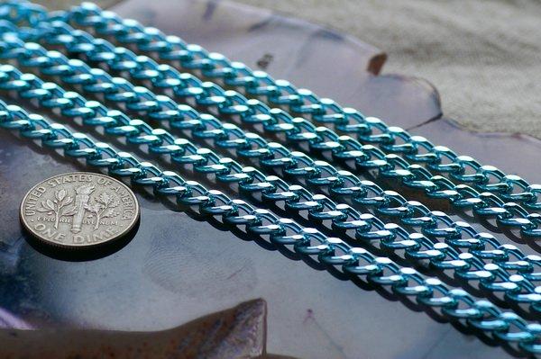 Sky Blue Aluminum Chain Link Curb Chains 6.8x4.4mm c159 (8ft)