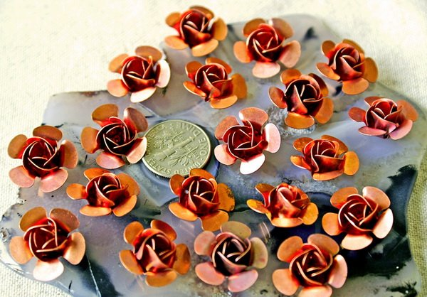 24pcs Copper Plated Metal Stamping Filigree Flowers 15mm bf22