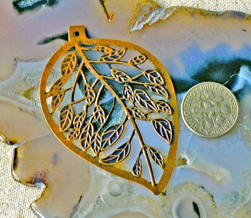 8pcs Antique Copper Leaves Filigree Wraps Pendant bp44d