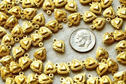40pcs Raw Brass Filigree Stamping Heart Embellishment brass Charms Finding 12mm b12