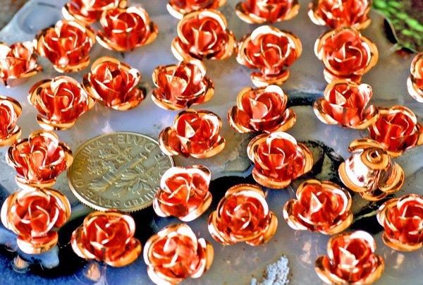 150pcs Wholesale Bulk Copper Plated Metal Filigree Flowers 11mm bf36