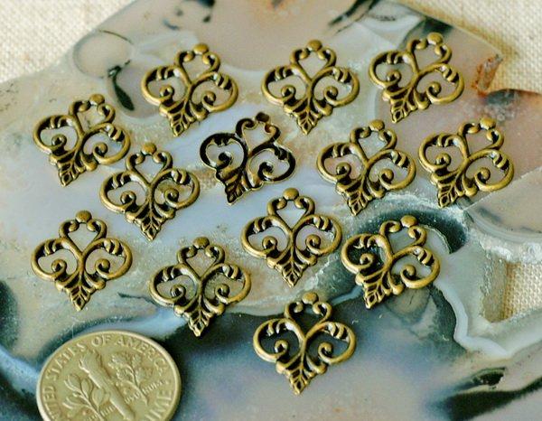 40pcs Antique Bronze Plated Brass Filigree Artstic Pattern 15mm bp20b