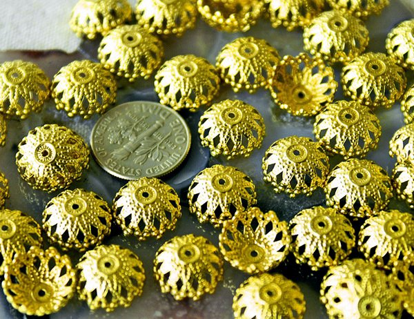 40pcs Solid Brass Stamping Filigree Flower Bead Caps Finding 12mm bc21