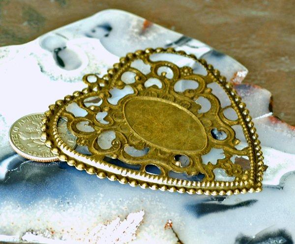 4pcs Antique Bronze Plated Metal Filigree Wraps Charms Pendant bp43b