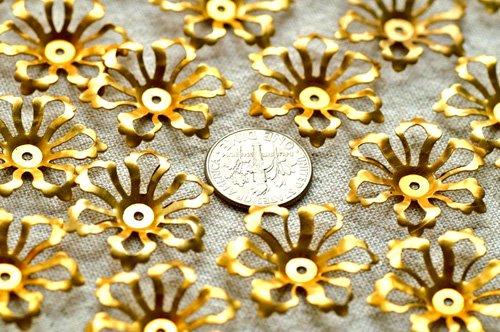 24pcs Raw Brass Stamping Filigree Flower Beadcaps Finding 26mm bf16