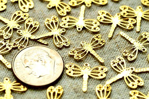 70pcs Solid Brass Filigree stamping Dragonfly Embellishment Charms Finding 14.5mm b11
