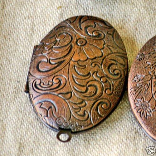 2pcs Antique Copper Oval Filigree Locket Charms Pendant 42x27mm b45d