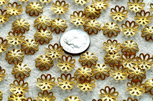 60 Brass Stamping Filigree Bead Caps Flower Embellishment Finding 11mm  bc03