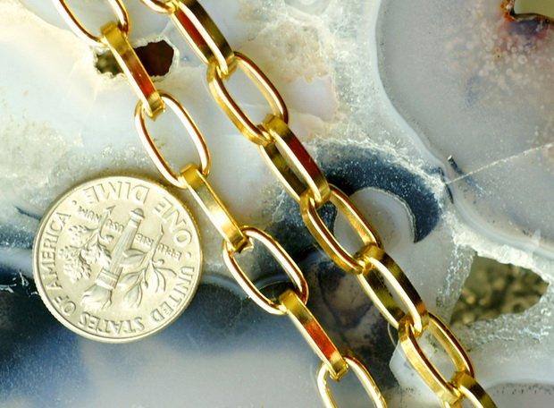 Golden Anodized Aluminum Link Cable Chains Necklace 11x5.5mm c85 (6ft)