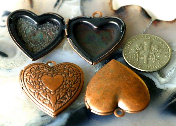 4pcs Antique Copper Plated Brass Heart Lockets 22.5x24.5mm b17d