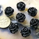 50pcs Wholesale Acrylic Flower Cabochon Black 12mm p213bl