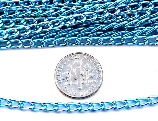 Sky Blue Plated Aluminum Link Chains c20(10ft)