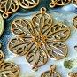 16pcs Antique Copper Plated Brass Filigree Wrap Connectors 26mm be18d