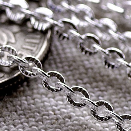Sterling Silver Plated Brass Knurled Link Cable Chain 2.5x2mm c110a(2ft)