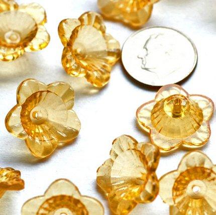 24 Acrylic Transparent Orange Trumpet Flower Beads 18mm p157