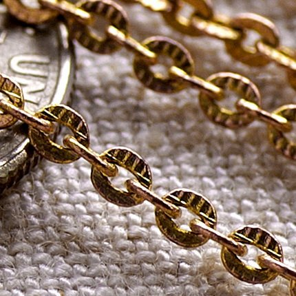 Solid Copper Knurled Link Chains c48a(4ft)